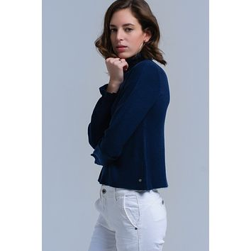 Sweater with ruffle in navy
