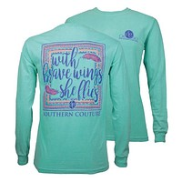 Southern Couture She Flies on Feathers Comfort Colors Long Sleeve T-Shirt