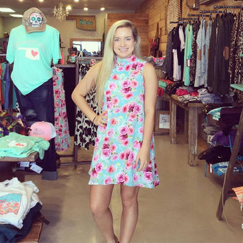 Mint with Pink Flowers High Neck Women's Dress