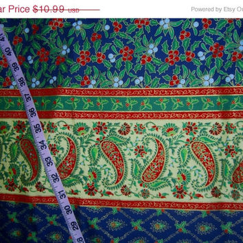 Paisley Christmas fabric for sewing double border gold metallic cotton quilting  material to craft by the yard