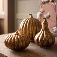 SET OF 3 MERCURY GLASS PUMPKINS \ ANTIQUE ORANGE