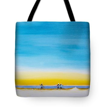 "Surfers On The Beach Tote Bag for Sale by Ben Gertsberg (18"" x 18"")"
