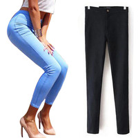 Women sexy slim hip slim high waist elastic skinny jeans pants women high street summer pencil jeans