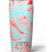 Swirling Pink and Mint Acrylic Marble Yeti Rambler Skin Kit