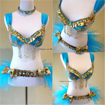 Disney Princess Jasmine Cosplay Dance Costume Rave Bra Halloween Comicon