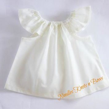 Girls White Flutter Sleeve Top, Baby Girls White Peasant Top, Girls White Blouse
