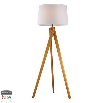 Wooden Tripod Floor Lamp in Natural Wood Tone - with Philips Hue LED Bulb/Bridge