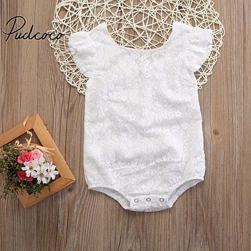 Zipper Baby Clothes Newborn Infant Baby Girls White Lace Floral Romper Jumpsuit Outfits Set