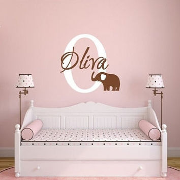 Elephant, Elephant Wall Decal, Elephant Nursery, Monogram elephant , boys nursery, girls nursery,  vinyl wall decal, Pink eleph