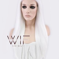 """24"""" Straight White Lace Front Synthetic Wig LF387"""