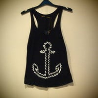 COSMIC RAY clothing — 'ANCHOR' Navy Print Vest Top
