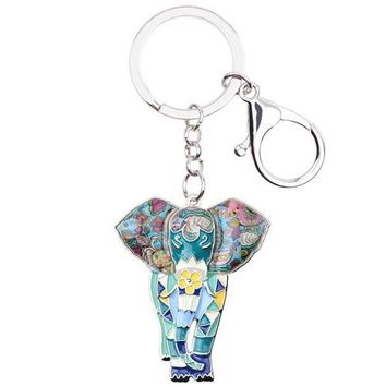 Patterned Elephant Key Chain