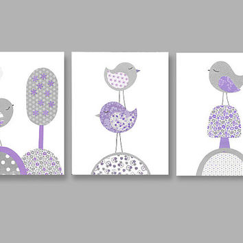 Gray And Purple Nursery Birds Tree Art