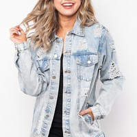 All or Nothing Distressed Denim Jacket in Light Denim