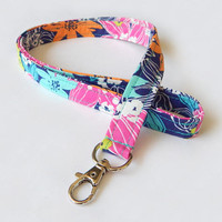 Tropical Floral Lanyard / Bright Flowers / Cute Keychain / Colorful Lanyard / Key Lanyard / ID Badge Holder / Fabric Lanyard / Summer