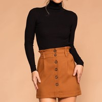 Blake High Waisted Camel Button Skirt