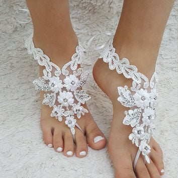 barefoot sandals, white Beach wedding shoes,  Elegant barefoot, bangle beach anklets, barefoot sandals, bridal bride bridesmaid, Free ship