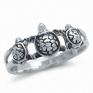 Antique Finish 925 Sterling Silver Three TURTLE Ring