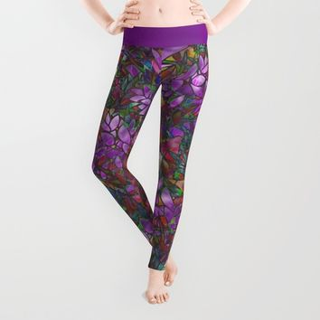 Floral Abstract Stained Glass G175 Leggings by MedusArt