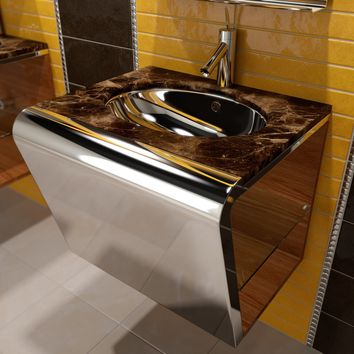 "Settemeno 36"" Wall Single Sink Bathroom Vanity Steel and Solid Wood - No Drawer - Emperador Marble Sink"