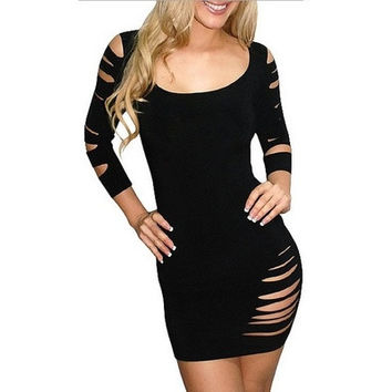 Black Blends Ladies Round Neck Sexy Short Length Euro Style Slim Dress One Size ALYDY-N074-20Black403-2 (Size: M, Color: Black)