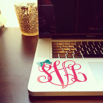 4 Inch Bow Monogram Decal Sticker in Vine Laptop