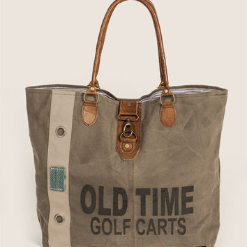 Vintage Old Time Golf Canvas & Leather Tote Bag