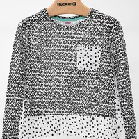 Women's Girls - All-Over Print Top in Black/White by Daytrip.