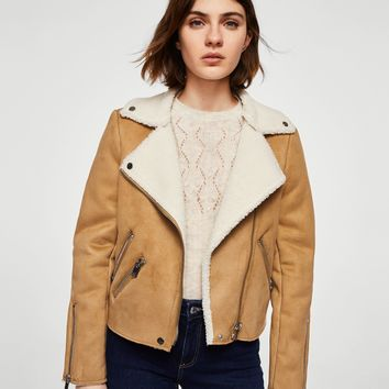 Faux shearling-lined biker jacket - Women | MANGO USA