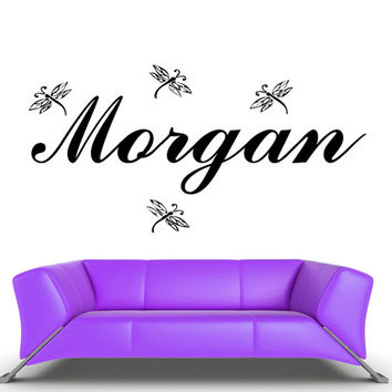 rvz475 Wall Vinyl Sticker Bedroom Decal Custom Name Cartoon Dragonfly Baby Kids Z475