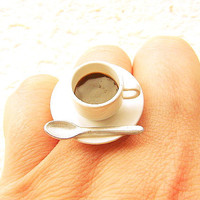 Kawaii Coffee Cup Ring Miniature Food Jewelry by SouZouCreations
