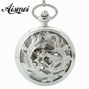 2018 Classic Silver dragon and phoenix Stainless Steel Steampunk silver Skeleton Mens Lady Hand-winding mechanical pocket watch