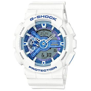Casio Mens G-Shock - White Case & Strap - 200m - Light Blue Dial & Highlights