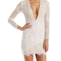 Off White Plunging Lace Bodycon Dress by Charlotte Russe
