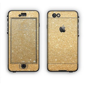 The Gold Glitter Ultra Metallic Apple iPhone 6 Plus LifeProof Nuud Case Skin Set