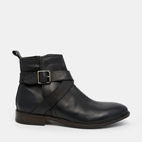 ASOS Boots in Leather With Buckle