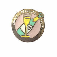 Chief Prosecco Taster Enamel Pin Badge With Glitter