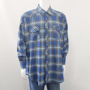 Wrangler Western Shirt Pearl Snap Buttons Blue Plaid Flannel Long Sleeve Sz 2XT