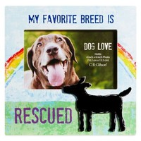 """CR Gibson 8-Inch x 8-Inch """"My Favorite Breed is Rescued"""" Dog Lover Pet Frame with Easel Back"""