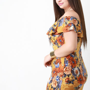 Tiered Floral Off The Shoulder Bodycon Dress