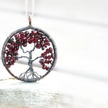 Garnet  Tree Of Life Necklace----January Birthstone, Family Tree, Lineage, Mothers Gift, Nature, Woodland, Burgundy, Rustic