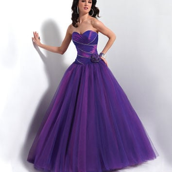 FLIRT by Maggie Sottero Prom Dresses-Vivid Purple Strapless Zipper Floral Ball Gown - Unique Vintage - Bridesmaid & Wedding Dresses
