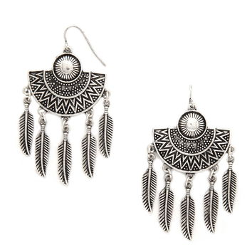 Feather Drop Earrings | Forever 21 - 1000153968