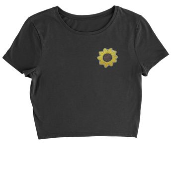 Embroidered Sunflower Patch (Pocket Print) Cropped T-Shirt