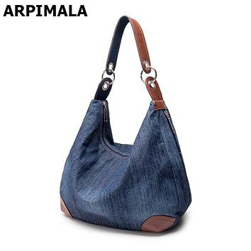 ARPIMALA 2017 Large Luxury Handbags Women Bag Designer Ladies Hand bags Big Purses Jean Denim Tote Crossbody Women shoulder Bags