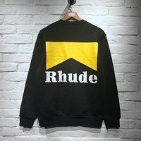 18ss Rhude RH Logo Printed Women Men Sweatshirts Hoodies Hiphop Oversized Men Sweatshirt Pullover Winter Fleeces