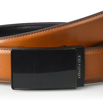 Kenneth Cole REACTION Men's Perfect Fit Adjustable Click Belt with Plaque Buckle