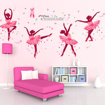 90*60cm Four Pink Girls Dancing Ballet DIY Wall Sticker Butterfly Wall Decal Home Decor Ballet Studio Dance Studio Training room SM6