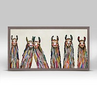 Six Lively Llamas on Cream Mini Framed Canvas