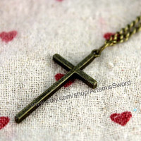 arge cross necklace - sterling cross - cross pendant - large cross - unisex - gift for him - mens cross - classic jewelry - prima